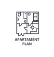 apartment plan line icon sign vector image vector image