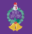 bell wreath and snowman of merry christmas design vector image vector image