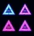 blue violet neon light triangles set techno frame vector image vector image
