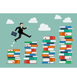 Businessman jumping over higher stack of books vector image vector image