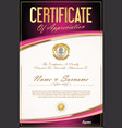 certificate of achievement or diploma template 6 vector image vector image