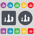 chess Game icon sign A set of 12 colored buttons vector image