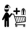 Christmas Shopping Man with Cart and Gift Flat vector image