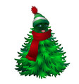 christmas tree with woman face and striped hat vector image vector image