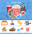 cinema and movie time concept vector image vector image