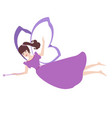 color fairy with a magic wand flying vector image vector image