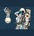 cosmonauts are dancing romantic date man loves a vector image vector image