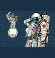 cosmonauts are dancing romantic date man loves vector image vector image