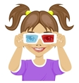 cute little girl trying on 3d glasses vector image vector image