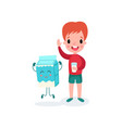 cute redhead boy playing with smiling humanized vector image vector image