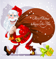 Cute Santa Claus carries a bag of gifts and Happy vector image vector image