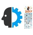 Cyborg Head Icon With 2017 Year Bonus Symbols vector image vector image