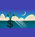 dollar palm tree grow in night ocean sea landscape vector image vector image
