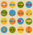 flat style collection of transport icons vector image