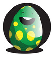 green easter egg in front of black circle web on vector image vector image