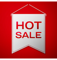 Grey pennant with inscription HOT SALE over a red vector image