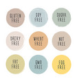 hand drawn food dietary label set natural pastel vector image vector image