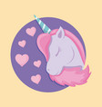 head cute unicorn of fairy tale in frame vector image vector image