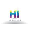hi h i colorful letter origami triangles design vector image vector image
