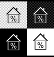 house with discount tag icon isolated on black vector image vector image