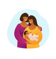 lgbt couple with a child two black mothers vector image