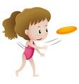 little girl throwing frisbee vector image