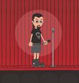 live band boy cartoon character vector image