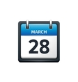 March 28 Calendar icon flat vector image vector image