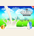 milk ads milky splashes and green field vector image vector image