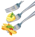 Pasta and mashed potatoes on fork vector image vector image