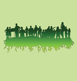 people at green silhouette vector image
