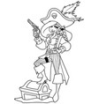 pirate girl line art vector image vector image