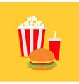 Popcorn hamburger soda with straw Cinema icon vector image