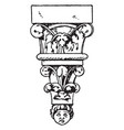 romanesque console material vintage engraving vector image vector image