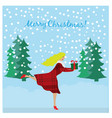 running girl holding christmas gift in hands vector image vector image