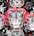 Seamless graphic pattern beautiful portraits tiger vector image