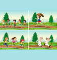 set children running at park vector image vector image
