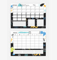 set of horizontal month and weekly planner vector image vector image