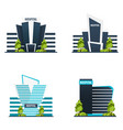set of hospital modern building in flat style vector image vector image