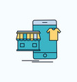 shopping garments buy online shop flat icon green vector image