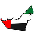 simplified map of united arab emirates uae vector image