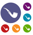 smoking pipe icons set vector image vector image