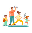 sport family happy children and parents training vector image vector image