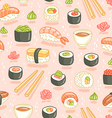 Sushi and rolls seamless pattern on pink vector image