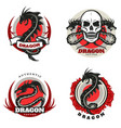 vintage colored tattoo dragon emblems set vector image vector image