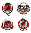 vintage colored tattoo dragon emblems set vector image