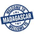 welcome to madagascar blue stamp vector image vector image