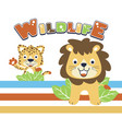 wildlife cartoon lion with leopard vector image vector image