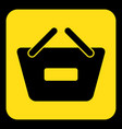 yellow black sign - shopping basket minus icon vector image vector image