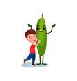 cute little hugging giant cucumber vegetable vector image